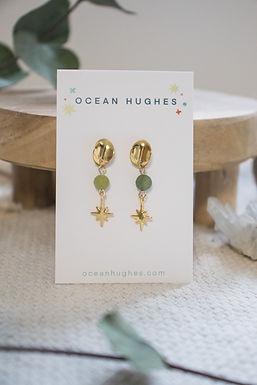 Olive Agate Star - Circle Dangle Earring