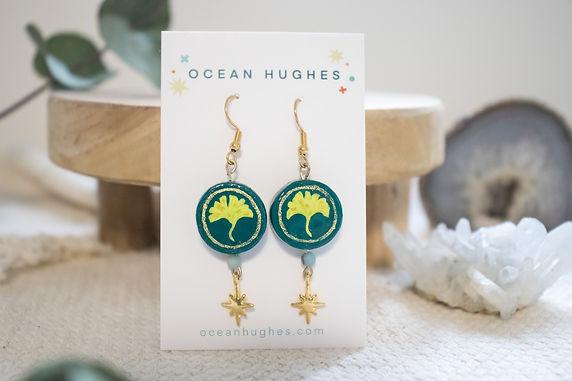 Ceramic Gingko Leaf - Star Dangle Earring