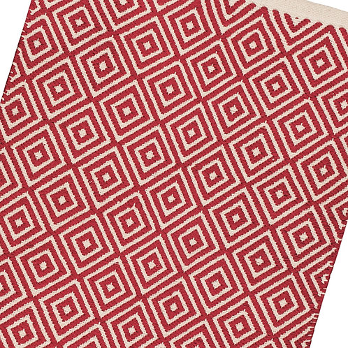 Diamond Weave Cotton Handloom Rug - Red
