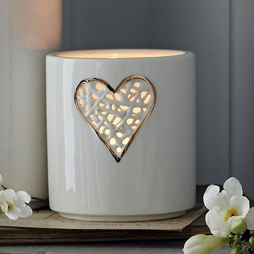 Tangled Gold Heart Tea Light Holder