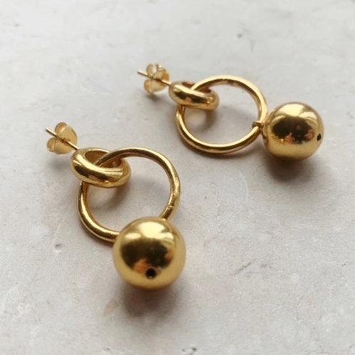 Hoop Solid Ball Earrings