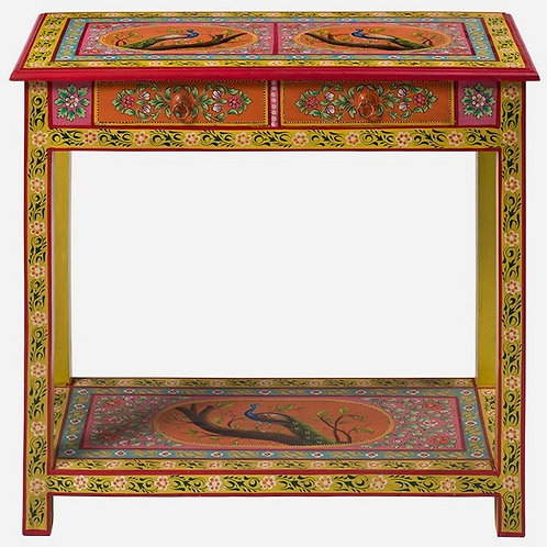 Hand Painted 2 Drawer Console Table - Peacock