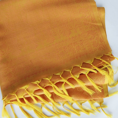 Handwoven Indian Silk Scarf – Gold