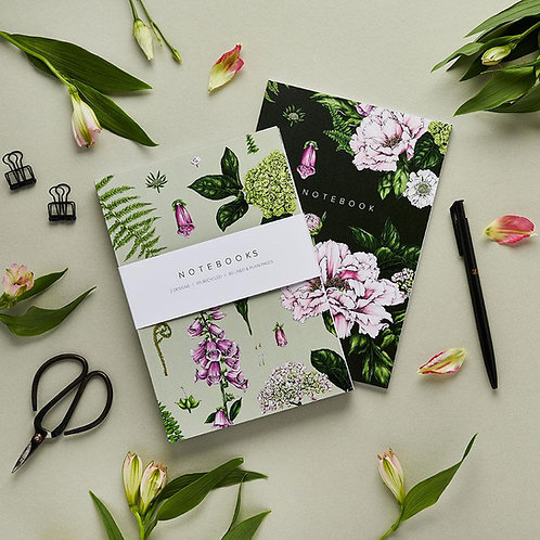 Notebooks - Botanical 'Summer Garden' Collection (Set of 2)