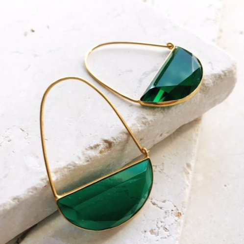 Macke Earrings - Emerald Green Quartz