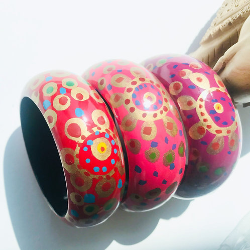 Handpainted Chunky Wooden Bangles - Set of 2