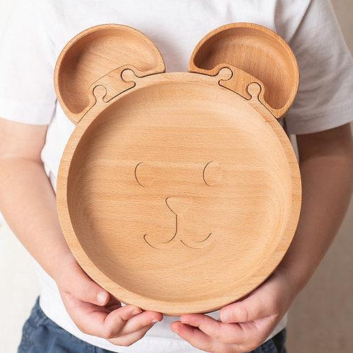 Eco-friendly Kids Wooden Jigsaw Bear Plate