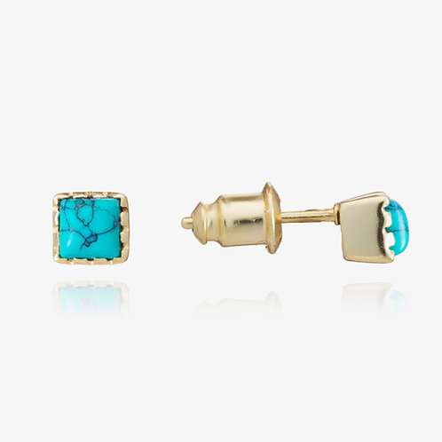 Small Mosaic Square Stud - Turquoise