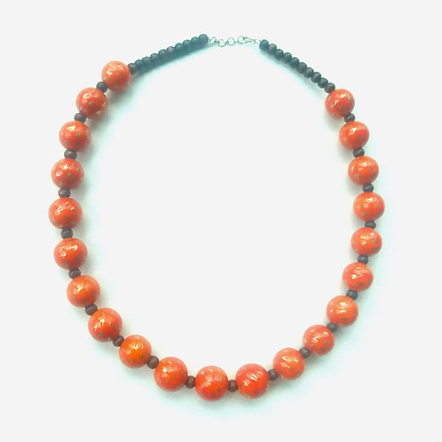 Handmade Wooden Necklace - Orange