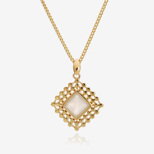 Handcrafted Diamond Drop Pendant Necklace - Moonstone