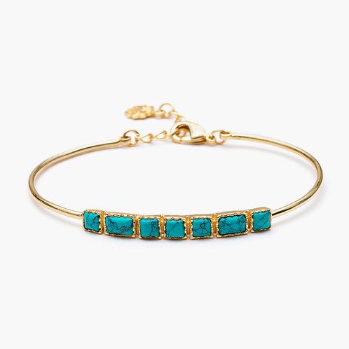 Mosaic Single Row Bangle - Turquoise