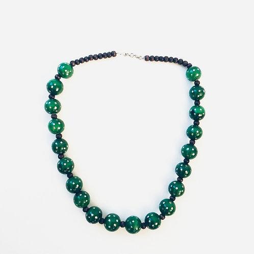 Handmade Wooden Necklace - Ocean Green
