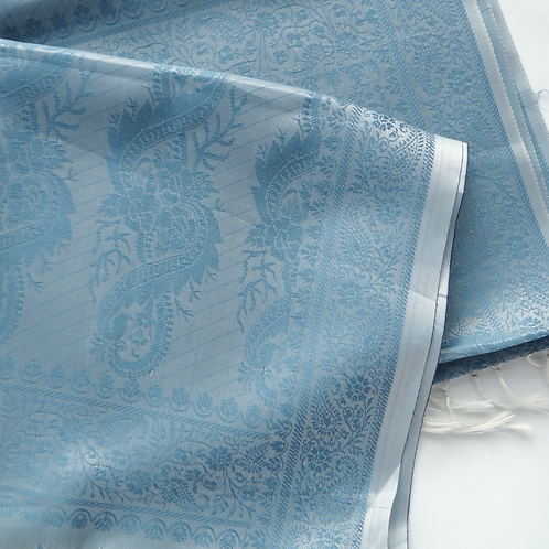 Handwoven Indian Silk Scarf – Sky Blue