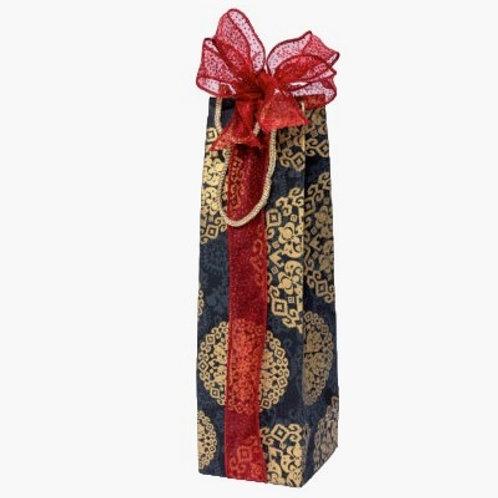 Black Medallion Bottle Gift Bag