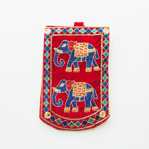 Handmade Elephant Pouch - Red