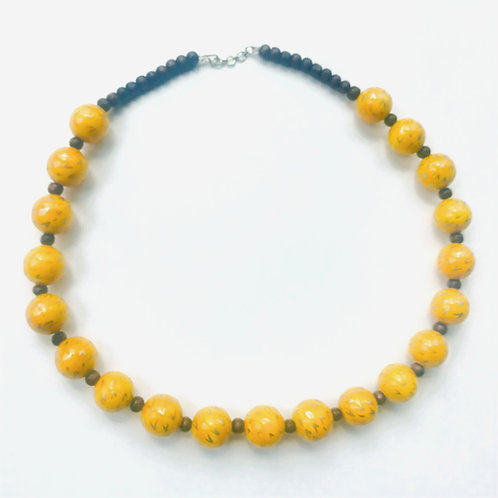Handmade Wooden Necklace - Yellow
