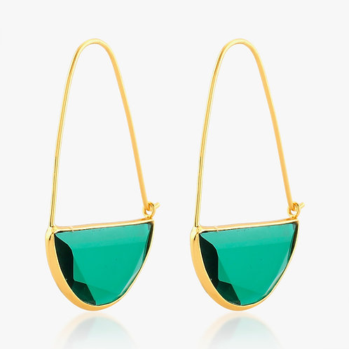 Macke Earrings - Emerald Green Quartz