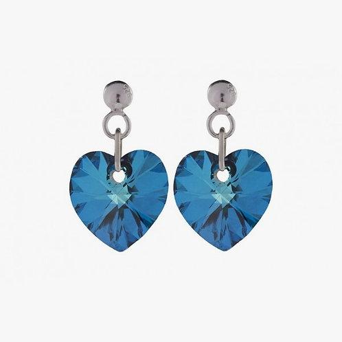 Handmade Heart Earrings - Bermuda Blue