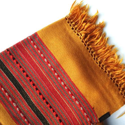 Handwoven Kullu Wool Scarf – Mustard