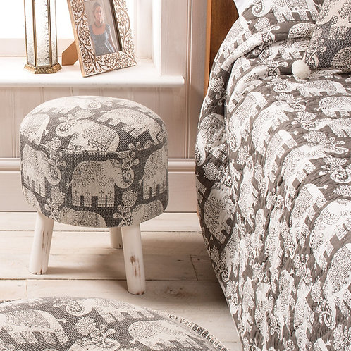 Handcrafted Cotton Durry Elephant Print Stool