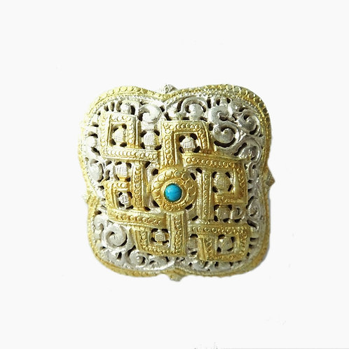 Handcrafted Bhutanese Square Brooch