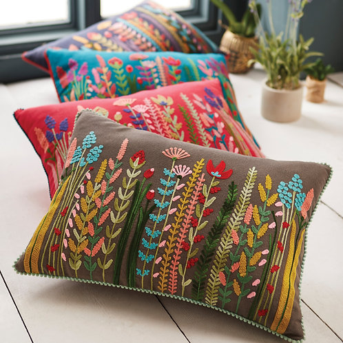Floral Hand-Embroidered Cushion Cover