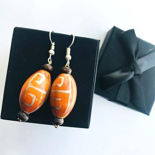 Handmade Drop Earrings - Orange