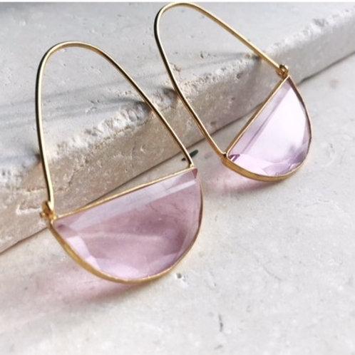 Macke Earrings - Soft Pink Quartz
