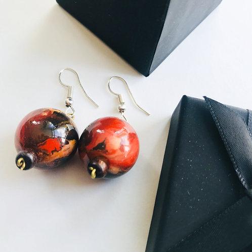 Handmade Drop Earring - Red