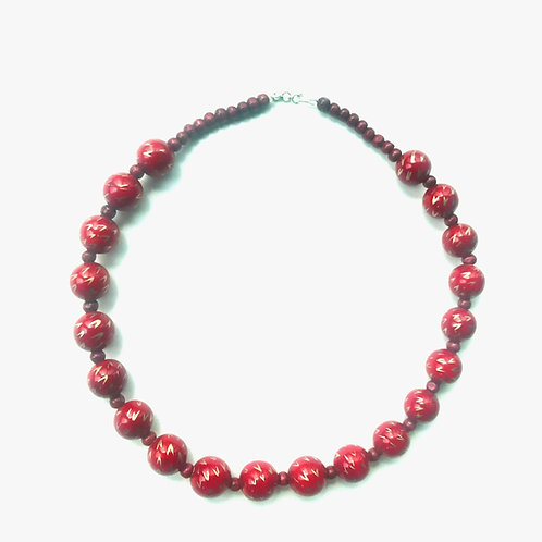 Handmade Wooden Necklace - Red