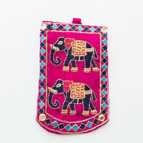 Handmade Elephant Pouch - Pink