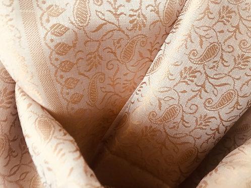 Handwoven Indian Silk Scarf – Cream & Champagne