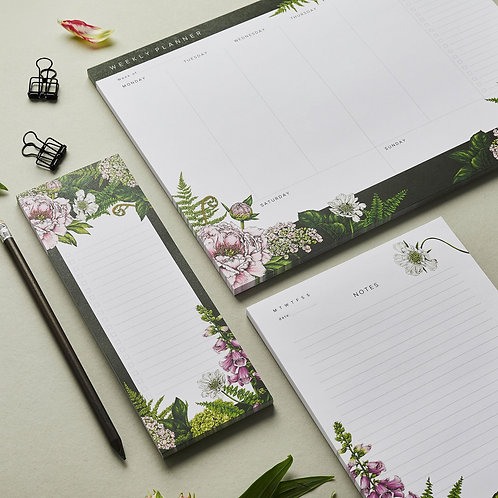 Stationery Trio Set  - Planner, Notepad & List Pad Set - Summer Garden