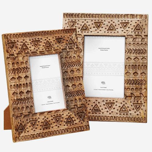 Aztec Design Hand Carved Photo Frame