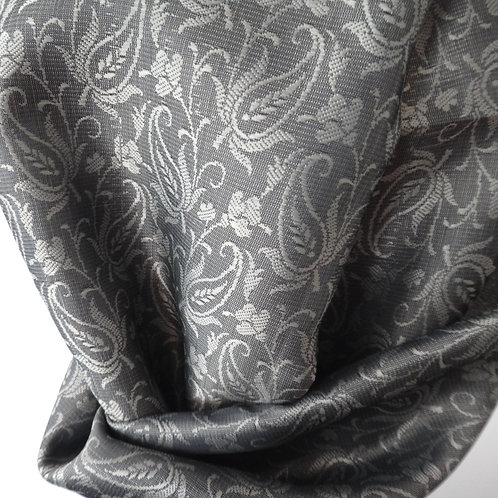 Handwoven Paisley Silk Scarf – Grey