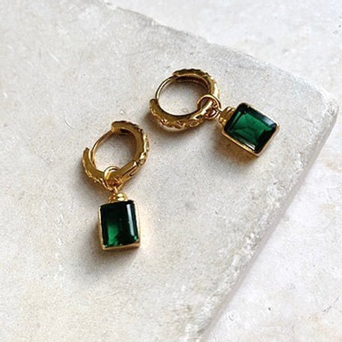 Margot Huggie Crystal Earrings - Emerald Green
