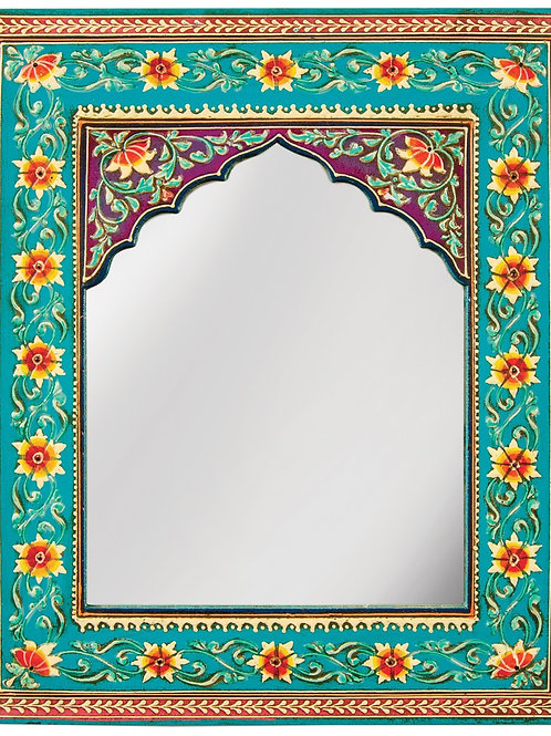 Hand Painted Floral Wall Mirror - Turquoise