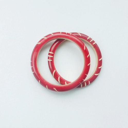 Handmade Wooden Bangles - Red