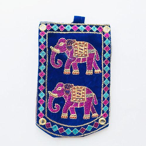 Handmade Elephant Pouch - Blue