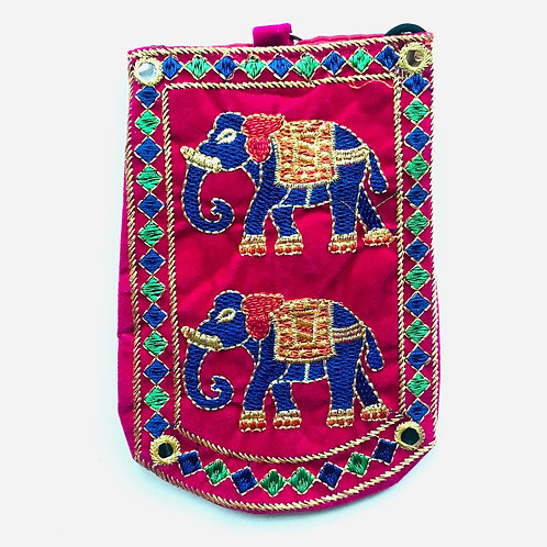 Handmade Elephant Pouch - Bright Pink