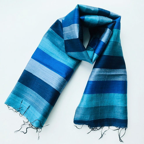 Handwoven Raw Silk Scarf - Blue