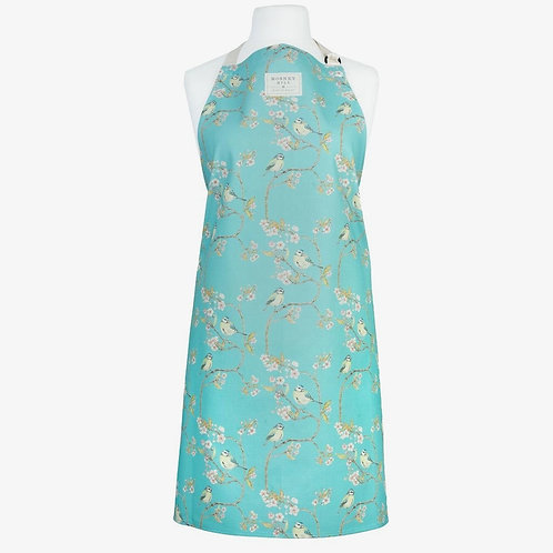 Blue Tit on Blossom Ditsy Print Apron (Turquoise)