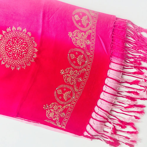 Gold Block Printed Ombre Scarf - Pink