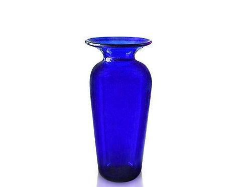 Handmade Bristol Blue Glass Medium Tall Vase