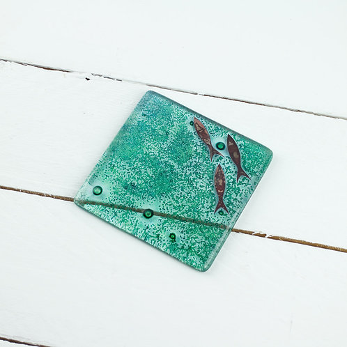 Handmade Glass Coaster - Fish