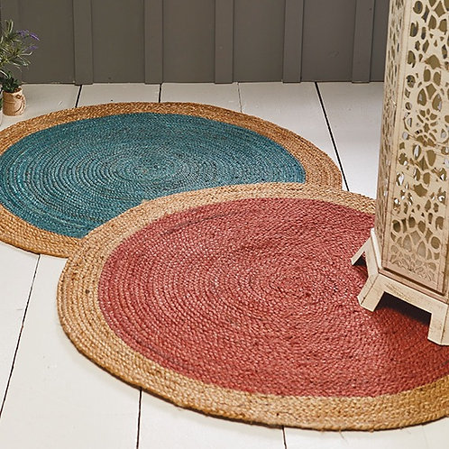 Eco-friendly Coloured Jute Rug With Natural Border