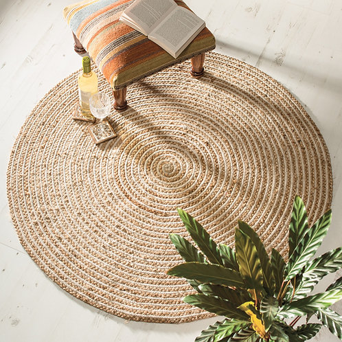 Eco-friendly Natural Braided Round Jute Rug - 120cm