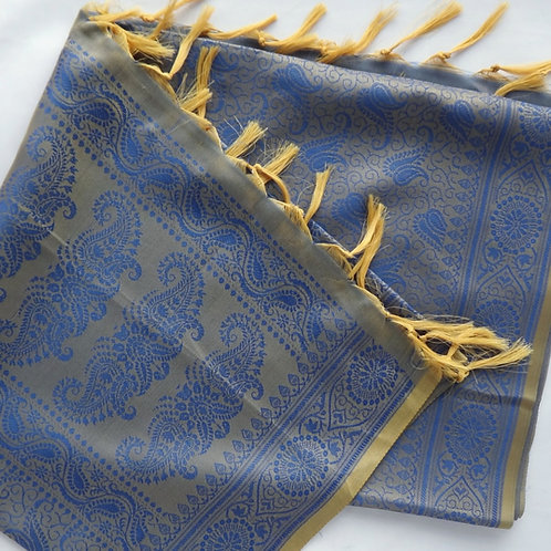 Handwoven Indian Silk Scarf – Blue & Gold