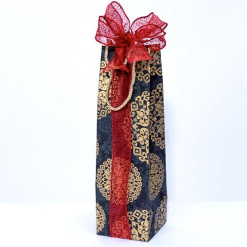 Black Medallion Bottle Gift Bag