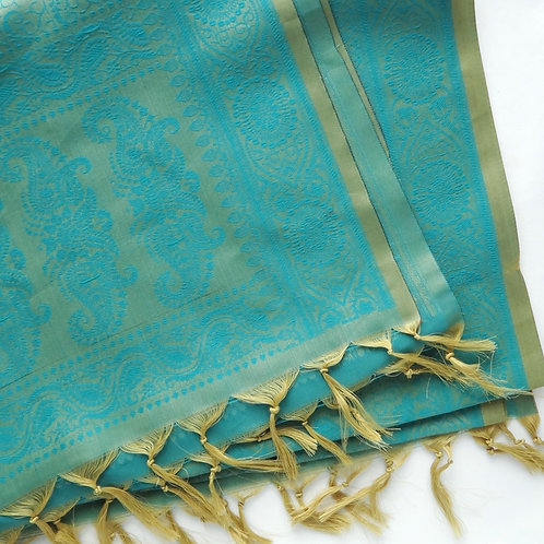 Handwoven Indian Silk Scarf – Teal